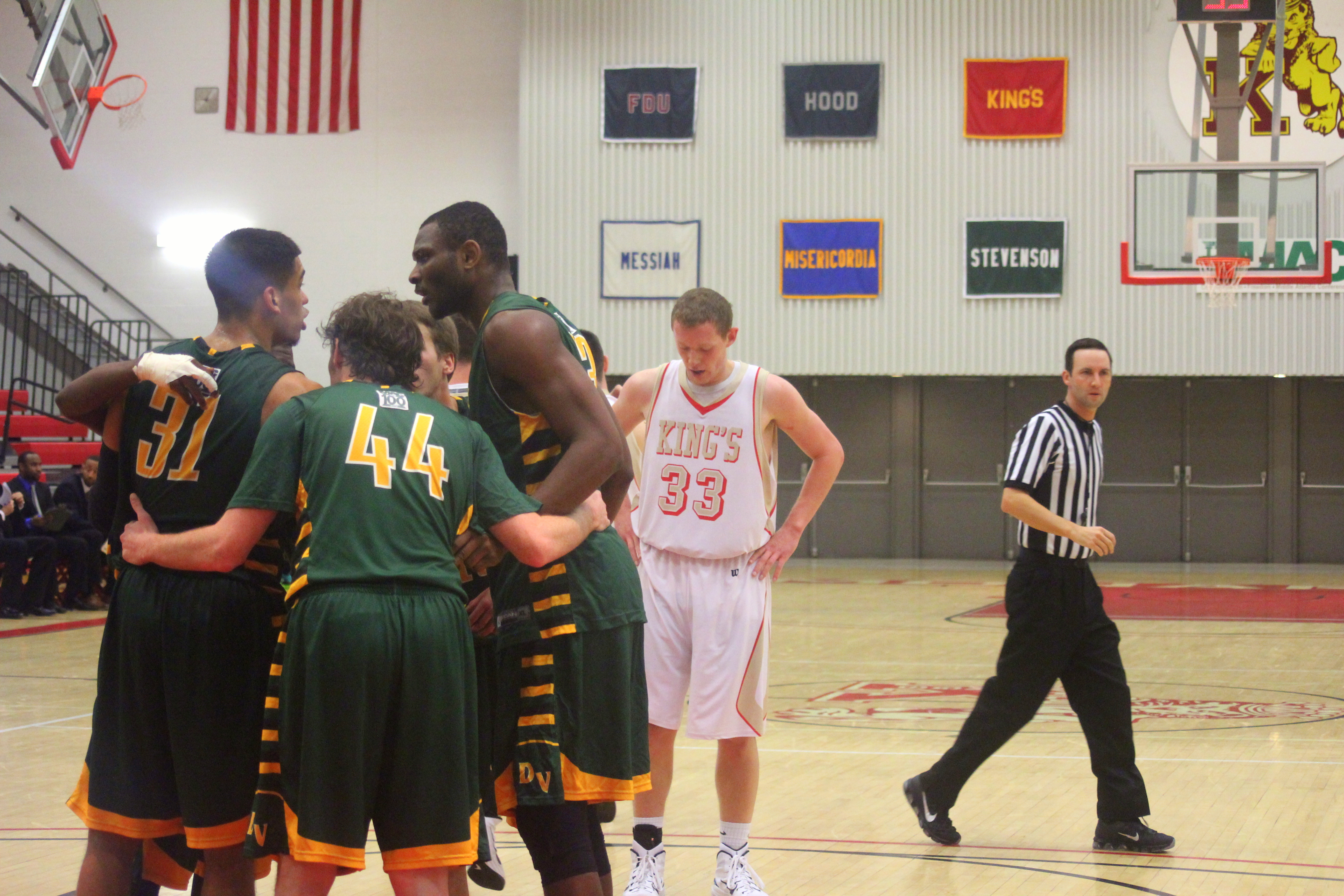 Tommy Heston (33) holds his head down before his foul shot during King's' loss to Delaware Valley | Staff Photographer: Tyler R. Tynes