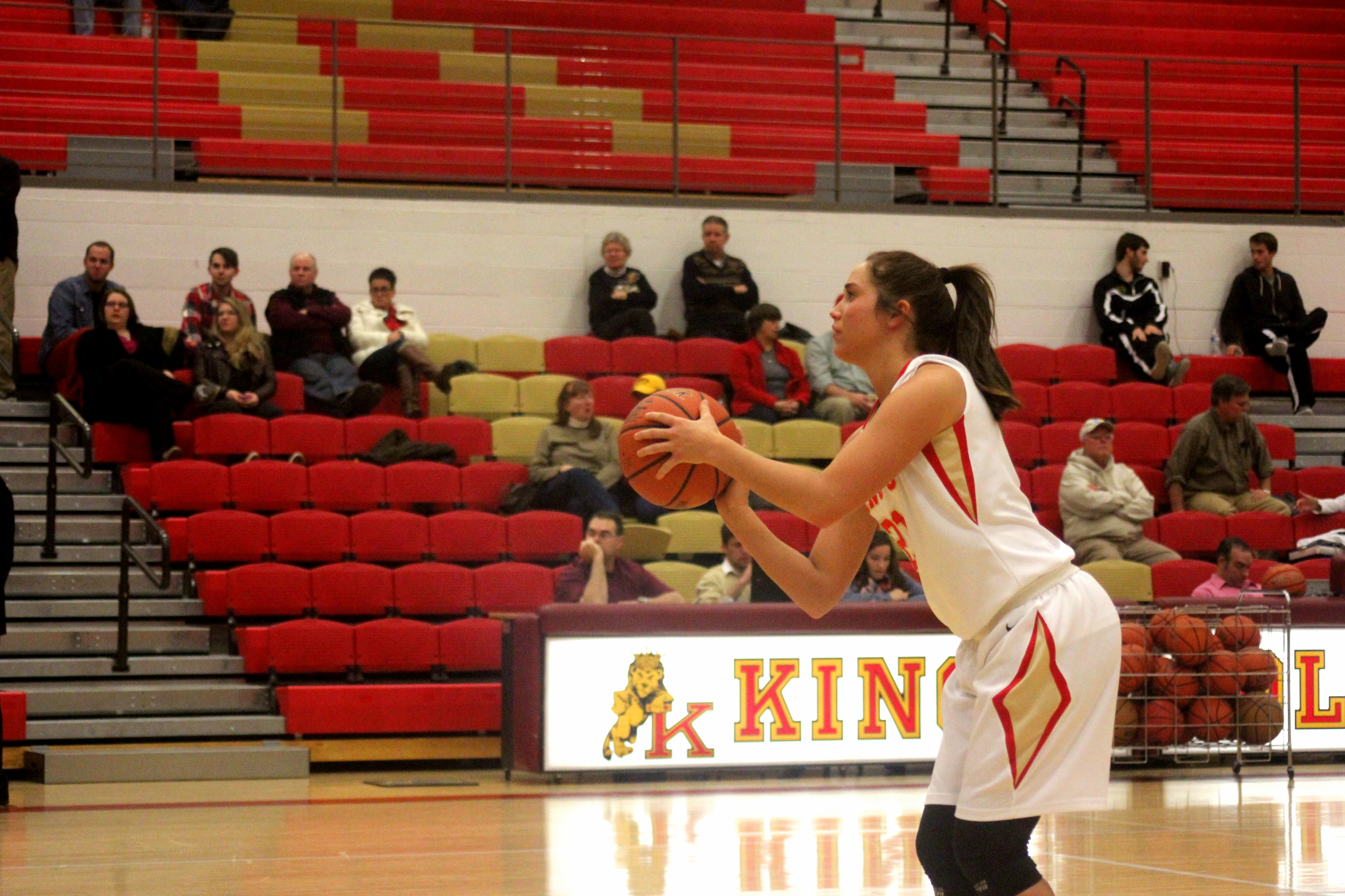 Shae Grim attempts a shot during King's' regulation victory over Delaware Valley | Staff Photographer: Tyler R. Tynes