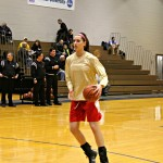 Olivia Hoffman driving to the rim in warm-ups | Tyler R. Tynes, Staff Photographer