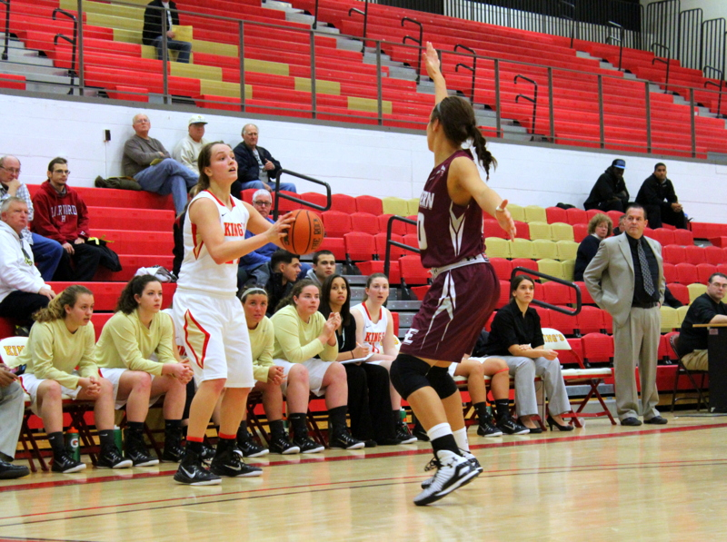 Sophomore Kayla Feairheller looking to find a man to pass to as an Eastern Eagle closes out on her position on the perimeter during King's Wednesday night loss | Staff Photographer: Tyler R. Tynes