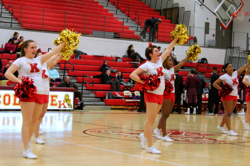 King's Cheerleaders celebrating mid-game during King's win over Eastern University Wednesday night
