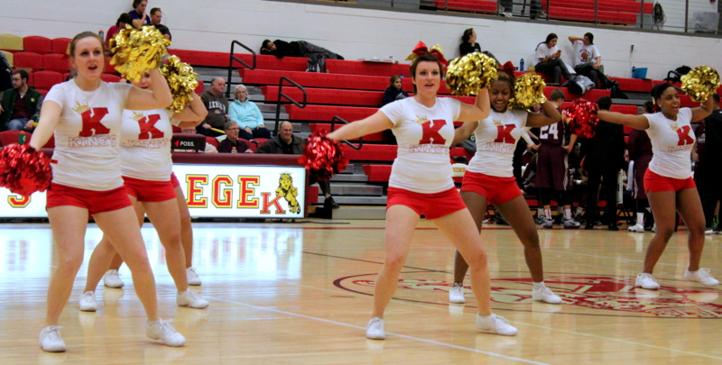King's Cheerleaders celebrate during King's victory at Scandlon Gymnasium Wednesday night over Eastern University   Staff Photographer: Tyler R. Tynes