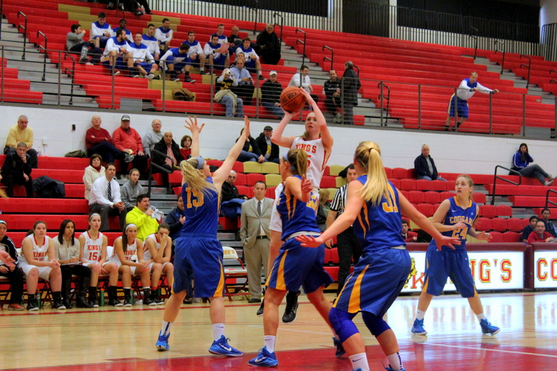 Senior Marissa Manning attempts a shot in triple-coverage during King's win over Misericordia Saturday afternoon at Scandlon Gymnasium | Staff Photographer: Tyler R. Tynes
